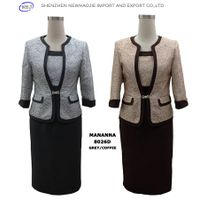 womens fashion dress suits coffee/grey MANANNA