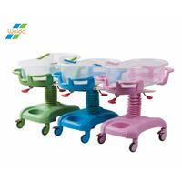 Luxury Colorful ABS plastic infant Hospital Pediatric bed Baby Crib Cot trolley for Newborn