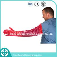 PE full sleeve disposable long veterinary cattle insemination gloves for animal cattle insemination