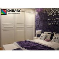 Simple White Wooden House Furniture Sliding Mirrored Wardrobe Doors
