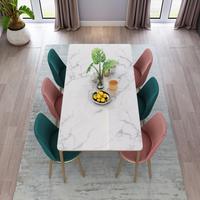 Luxury Euro modern gold metal leg round square marble dining table set thumbnail image