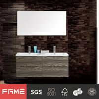 Europe style PVC Coating Doule Sink Wall Bathroom Vanity DTC Soft Close Drawer