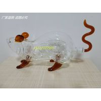 Empty Hand Blown Clear Customize Money Decorative Borosilicate Mouse Animal Shaped 750ml Glass Bottl