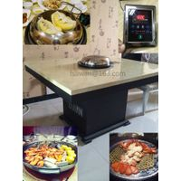 Seafood steam hotpot table, Liwan steam hotpot device, restaurant steam hotpot furniture.