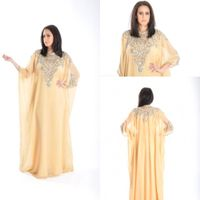 2014 New Design Elegant Light Yellow Chiffon Applique A line Scoop Arabic Kaftan Dubai Full Sleeve F