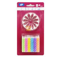 Cheap Price 24 Pieces Birthday Cake Spiral Candles With Holders For Party