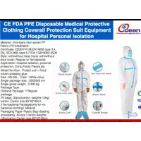 CE FDA PPE Disposable Medical Protective Clothing Coverall Protection Suit Equipment for Hospital Pe
