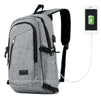 Travelambo Business Water Resistant Polyester Laptop Backpack Travel Bag with USB Charging Port and thumbnail image