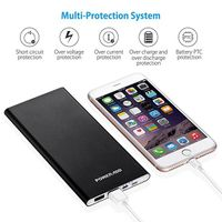 Black Portable Charger With Lightning Input , Universal Power Bank
