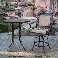 outdoor metal furniture cast aluminum round bar table and barstools set ceramic tabletop with paraso