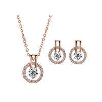 Wedding Gold Crystal Necklace Earring Jewelry Set thumbnail image