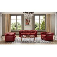Classic antique style handmade Three seats Leather Sofa set