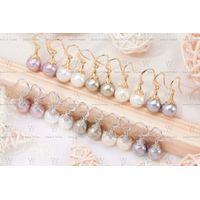 Glass Pearl earrings with high-gloss, round and gold-plated texture thumbnail image