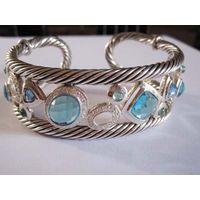 Sterling Silver Jewelry Blue Cubic Zircon Cuff Bracelet (B-080) thumbnail image