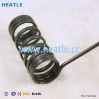 Electric hot runner temperature control nozzle coil heater with thermocouple