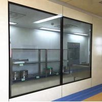 Industrial Decorative Material 5mm Thickness Tempered Glass Aluminum Frame Cleanroom