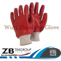 High Quality Red Pvc coated oil resistant waterproff heavy duty work gloves