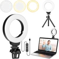 4'' Small Ring Light for Laptop/Computer, Zoom Call Lighting with Clip and Tripod, Video Conference