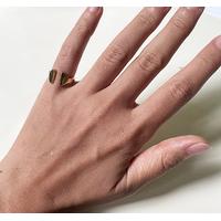 Cut circle ring in gold plated thumbnail image