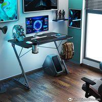Internet Cafe Black Steel Frame LED Gaming Desk PC Office Computer Table thumbnail image