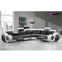Modern large L shaped corner reclining sofa thumbnail image