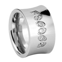 Unique mens concave rings titanium rings 316l steel ring inlay flashing stones