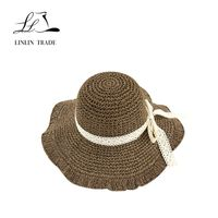 New fashionable decorated lace paper straw beach hats for women hats thumbnail image