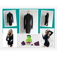 New Fashion Women Spring Autumn Turtleneck Long Sleeve Hollow Out Mini Dress WT73081 thumbnail image