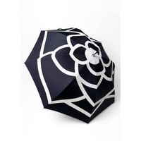 Personalized Flower Printed Logo Straight Lady Umbrella With Transparent Crook Handle