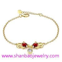 Shanbao Jewelry Imitation Jewelry Gold Plated Zircon Jewelry Girls Women Flower Resin Bracelets