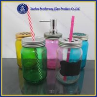 Colored Glass Mason Jar with Lid drinking