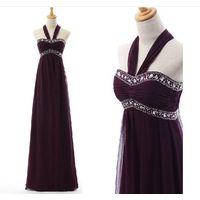 Customized Made Halter Purple Long Belt Beaded Long Satin Evening Dress LF1219 thumbnail image