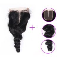 7a grade 44 peruvian virgin hair full cuticle peruvian loose wave lace closure for black woman
