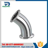 Mirror Polished Stainless Steel 45 Deg Tri Clamped Elbow thumbnail image