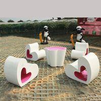 Modern creative fiberglass furniture heart fiberglass seats table thumbnail image