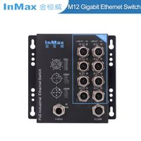 InMax 48V X-code 8 Port M12 Railway Gigabit PoE Industrial Ethernet Switch