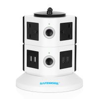 SAFEMORE Power Strip 6-Outlet with 4 Smart USB Charging Station