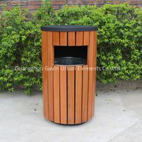 Outdoor wooden dustbin trash bin