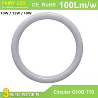 Circular G10Q T10 LED Tube Light 10W 12W 18W AC85-265V 3000-6500K Internal Driver PF>0.9 CRI>80 IP54