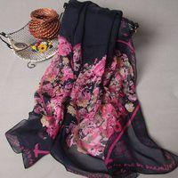 women fashion long flower chiffon scarf thumbnail image