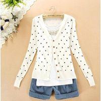 Free Ship spring&autumn women's long sleeve love cardigan Korean design sweet sweaters Thin causal k thumbnail image