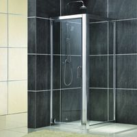 easy installed square hinge glass shower door with framed thumbnail image