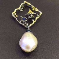 25 sterling silver inlaid pearl imports Edison shaped pendant