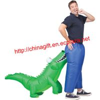 Inflatable crocodile attack man costume thumbnail image