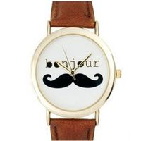Japan Movt Quartz Watch Stainless Steel With Mustache Face And Leather Strap For Ladies