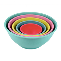 many sizes round stackable organic bamboo bowl set with transparent plastic lid and flanging dishwas