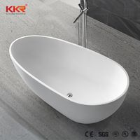 Pure white bath tub solid surface jade stone free standing bathtub