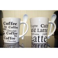 Porcelain coffee cup with spoon, white mug with black full printing