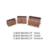 wooden brass box set of 3