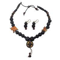 Wooden Black Beaded Necklace Earrings Set